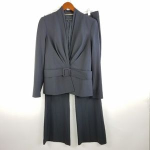 Ann Klein Charcoal Suit Belted Wool Blend Size 10